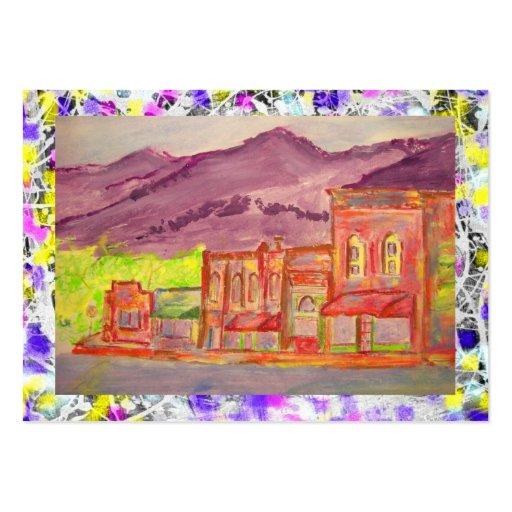 mountain town watercolour sketch drip business card