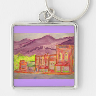 mountain town watercolour sketch keychain