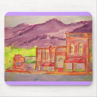 mountain town watercolour sketch mouse pad