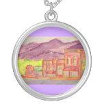 mountain town watercolour sketch custom jewelry