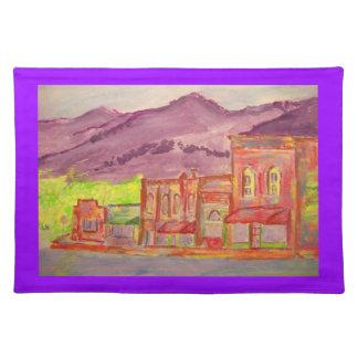 mountain town watercolour sketch place mat