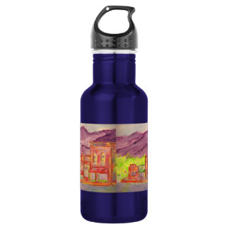 mountain town watercolour sketch stainless steel water bottle