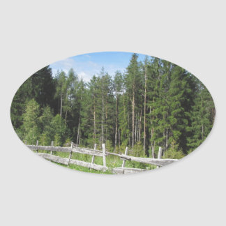 Mountain trail with wooden fence foreground oval sticker