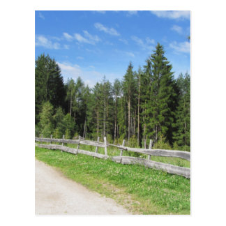 Mountain trail with wooden fence foreground postcard