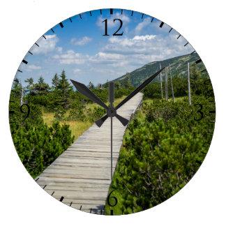 Mountain Tundra Wooden Path Landscape Large Clock