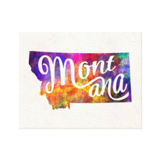 Mountain U.S. State in watercolor text cut out Canvas Print