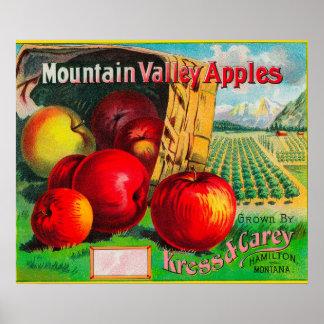 Mountain Valley Apple LabelHamilton, MT Poster