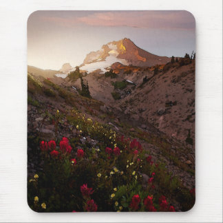Mountain Valley Sunset Watercolor Mouse Pad