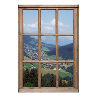 Mountain Valley View from a Window Poster