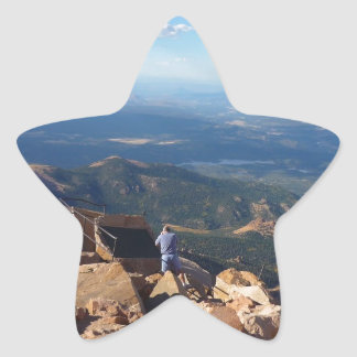 Mountain view at the top of Pikes Peak Star Sticker