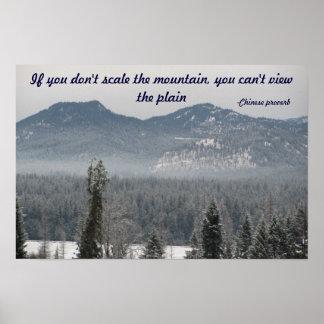 Mountain View con proverbio chino Póster