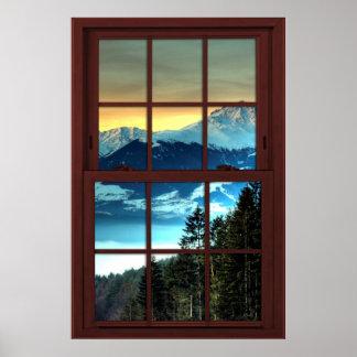 Mountain View de madera de la ventana de imagen de Póster