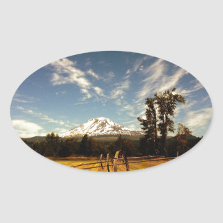 mountain view oval sticker