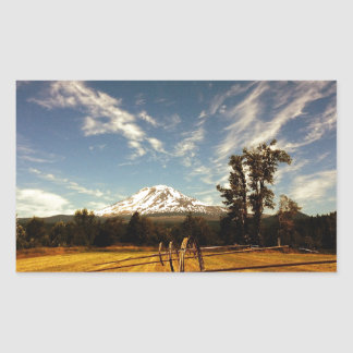 mountain view rectangular sticker