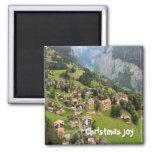 Mountain village, Jungfrau region 2 Inch Square Magnet