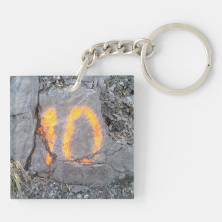 Mountain wall number 10 Double-Sided square acrylic keychain