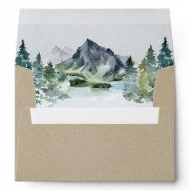 Mountain Watercolor Elegant Rustic Themed Wedding Envelope