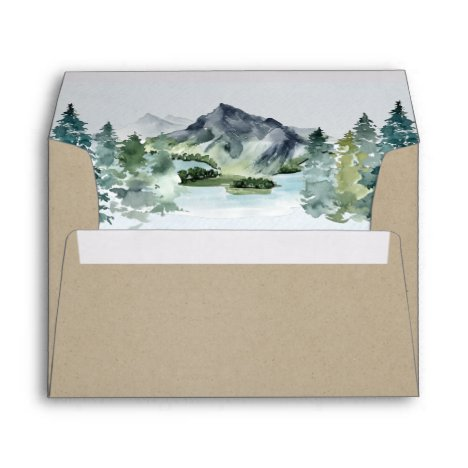 Mountain Watercolor Elegant Rustic Themed Wedding Envelope