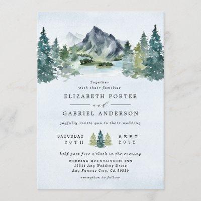 Mountain Watercolor Elegant Rustic Themed Wedding Invitation