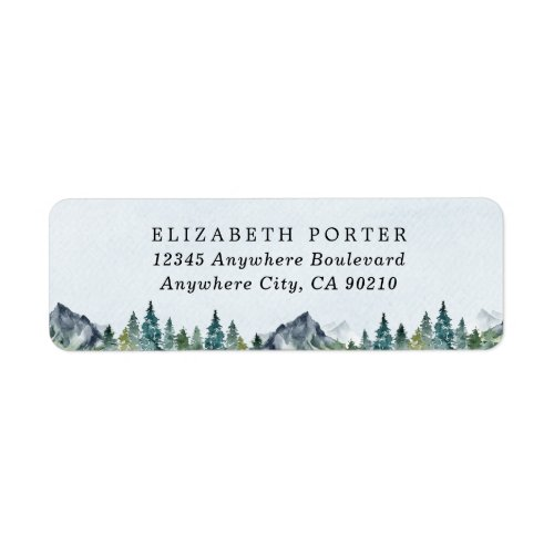 Mountain Watercolor Elegant Rustic Themed Wedding Label