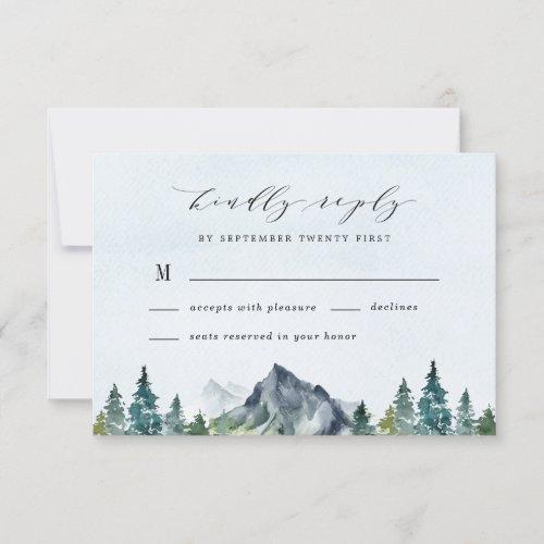 Mountain Watercolor Elegant Rustic Themed Wedding RSVP Card
