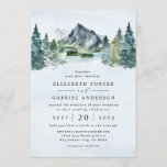 """Mountain Watercolor Evergreen Rustic Tree Wedding Invitation<br><div class=""""desc"""">Design features an elegant watercolor mountain view scenery with a modern style text layout.  View alternative versions of this invitation and matching suite items within the collection link found on this page.</div>"""