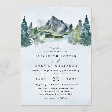 Mountain Watercolor Evergreen Rustic Tree Wedding Invitation