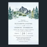 "Mountain Watercolor Evergreen Rustic Tree Wedding Invitation<br><div class=""desc"">Design features an elegant watercolor mountain view scenery with a modern style text layout.  View alternative versions of this invitation and matching suite items within the collection link found on this page.</div>"