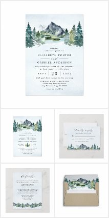 Mountain Watercolor Rustic Wedding Invitations Set