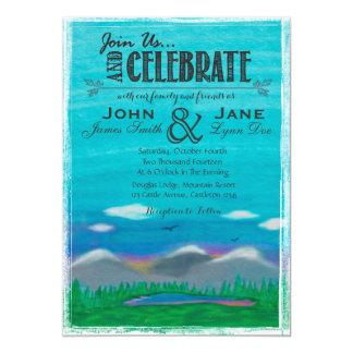 Mountain Watercolor Wedding Invitation