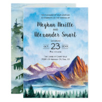 Mountain Wedding Invitation with water and forest