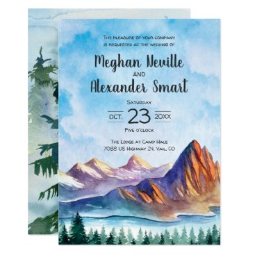 langdesignshop Mountain Wedding Invitation with water and forest
