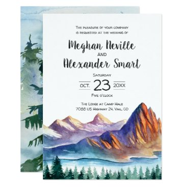langdesignshop Mountain Wedding Invitation with water and pines