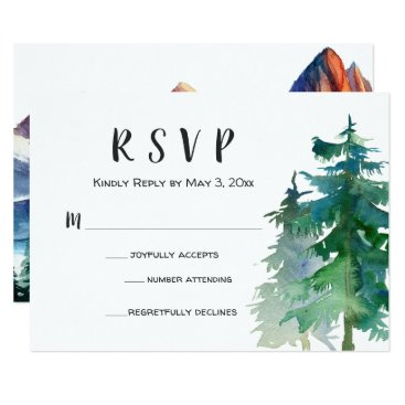 langdesignshop Mountain Wedding RSVP Card with Number Attending