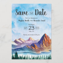 Mountain Wedding Save the Date with forest
