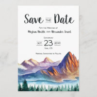 Mountain Wedding Save the Date with lake & forest