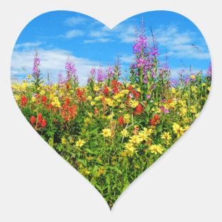 mountain wildflowers heart sticker