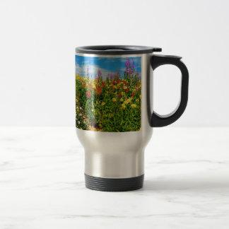 mountain wildflowers 15 oz stainless steel travel mug