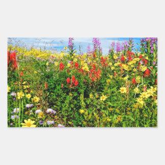 mountain wildflowers rectangular sticker