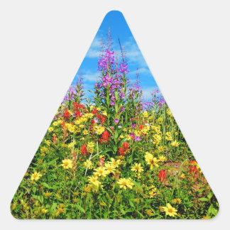 mountain wildflowers triangle sticker