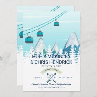 Mountain Winter Skiing Wedding Invitation