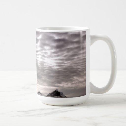 Mountain with cruiseship in the Pole Coffee Mugs