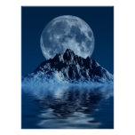 Mountain with Moon Poster