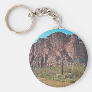 Mountain with saguaro keychain