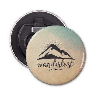 Mountain with Sunrays and Wanderlust Typography Bottle Opener