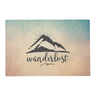 Mountain with Sunrays and Wanderlust Typography Placemat