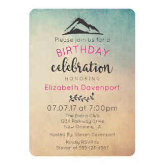 Mountain with Sunrays Birthday Party Invite
