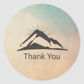 Mountain with Sunrays Thank You Classic Round Sticker