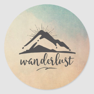 Mountain with Sunrays - Wanderlust Typography Classic Round Sticker