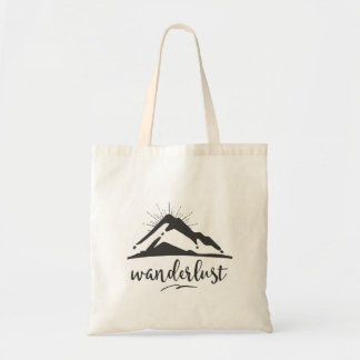 Mountain with Sunrays - Wanderlust Typography Tote Bag